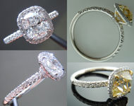 "Semi Mount Ring: ""Uber"" Custom Made Halo Ring with Single or Full Cut Diamond Melee SO3956"