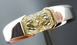 SOLD....Gent's Diamond Ring: 1.02ct M/SI1 Radiant Cut Diamond GIA 14K White and Yellow Gold R1673