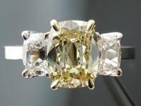 SOLD....Three Stone Ring: 1.57ct Brownish Greenish Yellow Daussi Cushion GIA Diamond 18K  R4110