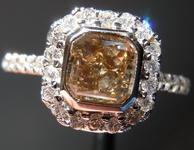 1.01ct Brown Radiant Cut Diamond Ring R4080