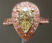1.24ct Brownish Greenish Yellow VS1 Pear Diamond Ring R4125
