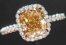 "SOLD.... Diamond Halo Ring: 1.59ct Cushion Cut Fancy Orange-Brown VS1 GIA ""Uber"" Halo R3776"