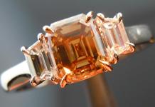 SOLD....Three Stone Diamond Ring: 1.11ct Emerald Cut Fancy Yellowish Brown SI2 Handmade Fluid Design R4127