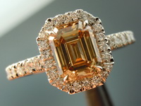 SOLD....Halo Diamond Ring: 1.19ct Emerald Cut Fancy Yellowish Brown SI1 Great Cut R4128