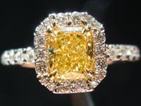 0.71ct Fancy Intense Yellow SI2 Radiant Cut Diamond Ring R4138