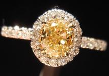 0.53ct Fancy Yellow VS1 Oval Shape Diamond Ring R4133