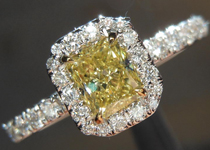 SOLD...Diamond Halo Ring: .51ct Radiant Cut Fancy Yellow VS1 GIA Handmade 18K R4134