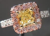 SOLD....Diamond Halo Ring: .57ct Radiant Cut Fancy Yellow VVS1 GIA Pink Lemoade Halo R4148