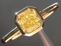 SOLD......Yellow Diamond Ring: .60ct Radiant Cut Fancy Yellow VS1 GIA 18K Gold Bezel R4167