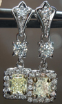 SOLD...Diamond Halo Earrings: .72ctw Y-Z, Natural Light Yellow Radiant Dangle Halo R4004