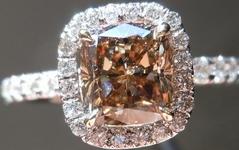 SOLD....Halo Diamond Ring: 1.20ct Fancy Dark Brown Cushion GIA 18kt handmade R4178