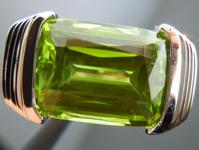 SOLD...Peridot Ring: Precision Cut 6.09ct Peridot Cushion Cut Bold Design 18K White Gold R4195