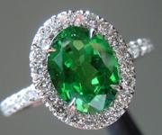 SOLD...Tsavorite Garnet Ring: Precision Cut 1.22ct Tsavorite Garnet Oval Shape Diamond Halo Ring R4186