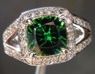 SOLD...Tourmaline and Diamond Ring: Precision Cut 1.39ct Chrome Tourmaline 14K Gold Diamond Halo  R4183