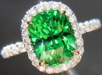 SOLD.....Halo Tsavorite and Diamond Ring: Precision Cut 2.25ct Tsavorite Garnet Cushion Cut Spectacular Stone R4200
