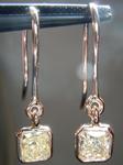 SOLD......Diamond Earrings: .68ctw Radiant Cut Fancy Light Yellow Diamond Dangle Earrings 18K Gold R4077