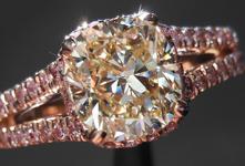 SOLD.....Diamond Ring: 2.10ct Cushion Cut S-T, Light Brownish-Yellow SI2 Under Halo R4206