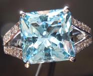 SOLD.....Aquamarine and Diamond Ring: Precision Cut 3.89ct Aquamarine Square Radiant Cut 18K R4188