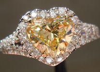 SOLD...Halo Diamond Ring: 1.01ct Heart Shape Fancy Light Yellow SI1 GIA Platinum and 18K R4211