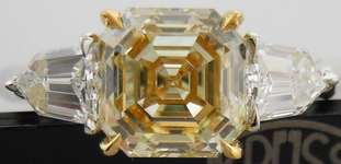 SOLD....Three Stone Diamond Ring: 1.52ct Asscher Cut Fancy Light Yellow SI1 GIA Bullet Uber ring R4208