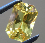 SOLD...Loose Sapphire: Precision Cut 1.29ct Yellow Sapphire Emerald Cut Beautiful Color R4181
