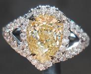 SOLD..Diamond Halo Ring: 1.32ct Pear Shape Fancy Light Yellow VS1 GIA Split Shank R4214