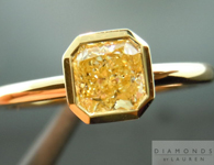 SOLD....Yellow Diamond Ring: .65ct Radiant Cut Fancy Light Yellow VS2 GIA 18K Bezel Set R4234