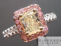 SOLD.......Radiant Diamond in Pink Diamond Halo: .78ct Radiant Cut W-X, Natural Light Yellow VS1 Sparkling Lemonade R4229