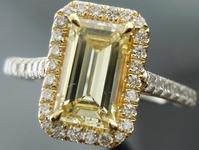 SOLD.....Halo Diamond Ring: .95 ct Fancy Yellow VS2 Emerald Cut Bargain for Pol/Sym R4075