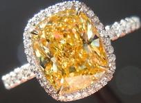 SOLD.....Halo Yellow Diamond Ring: 2.00ct Cushion Cut Fancy Intense Yellow SI1 GIA R4280