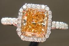 "SOLD....Diamond Halo Ring: 1.35ct Radiant Cut Fancy Brownish Orangy Yellow VS1 ""Uber"" Ring R4285"