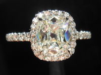 "SOLD....Diamond Ring: 1.50ct Antique Style Cushion J/VVS1 ""Uber"" Halo Single Cut Diamonds R4292"