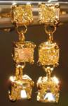 SOLD....Diamond Earrings: 1.31ct total weight Y-Z Natural Light Yellow Radiant Cut Dangle Diamond Earrings R3992