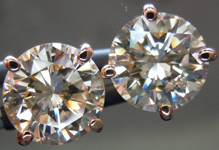 SOLD.....Diamond Earrings: 4.10ct tw Light Brown Brilliant Pair Rose Gold Martini Studs R4320