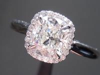 SOLD....Halo Diamond RIng: 1.05ct Cushion Cut Diamond H/SI1 GIA Uber Halo- Plain Shank R4322