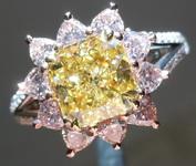 SOLD.....Pink Diamond Ring: 1.63ct Fancy Intense Yellow VS1 Pink Heart Diamond Halo GIA R4346