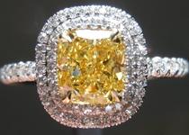 SOLD...Yellow  Diamond Ring: 1.01ct Cushion Cut Fancy Intense Yellow VS2 GIA Double Halo Single Cuts R4334