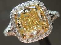 "SOLD....Halo Yellow Diamond Ring: 2.19ct Cushion Cut Fancy Yellow IF GIA in split shank ""Uber"" halo Ring"
