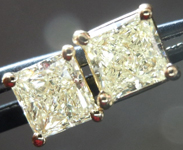 SOLD....Diamond Earrings: 1.27ct total weight Y-Z, Natural Light Yellow Princess Cut Diamond Earrings R4339