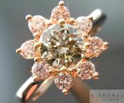 SOLD...Pink Diamond Halo Ring: .70ct Fancy Greenish Yellow-Gray CHAMELEON Diamond VS2 GIA Pink Diamond Halo R4242