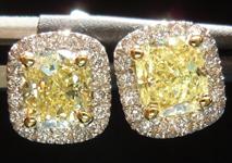 SOLD....Diamond Earrings: 1.54ctw Fancy Light Yellow Cushion Cut Diamond Halo Earrings R4341