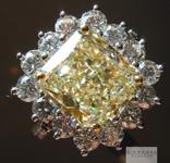 SOLD.... Yellow Diamond Ring: 3.37ct Y-Z Light Yellow VS2 Radiant Cut GIA Princess Halo Ring R4383