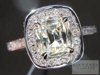 SOLD....Diamond Halo Ring: 1.01ct S-T VS2 Cushion Cut Diamond set in Platinum R2948