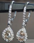 SOLD....Diamond Earrings: Fancy Yellowish Brown Pear Shape Dangle Diamond Halo Earrings R3931