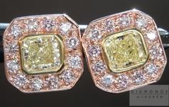 "SOLD....Diamond Earrings: Natural Light Yellow Diamond Halo ""Pink Lemonade"" Earrings R4374"