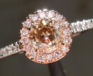 SOLD.... Brown Diamond Ring: .67ct Old European Cut Fancy Yellowish Brown VS2 GIA Pink Diamond Halo R4444