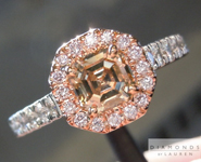 SOLD.... Brown Diamond Ring: .75ct Asscher Cut Fancy Yellowish Brown SI1 Pink Diamond Halo R4426