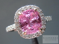 SOLD.....Pink Sapphire and Diamond Ring: 2.10 Pink Sapphire set into handmade halo Diamond Ring R4351