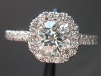 SOLD....Octagon Brilliant Diamond Halo Ring: .74ct Halo Ring R4371