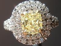 SOLD....Halo Diamond Ring 1.14ct Fancy Yellow Diamond Ring Micro Pave GIA R4402